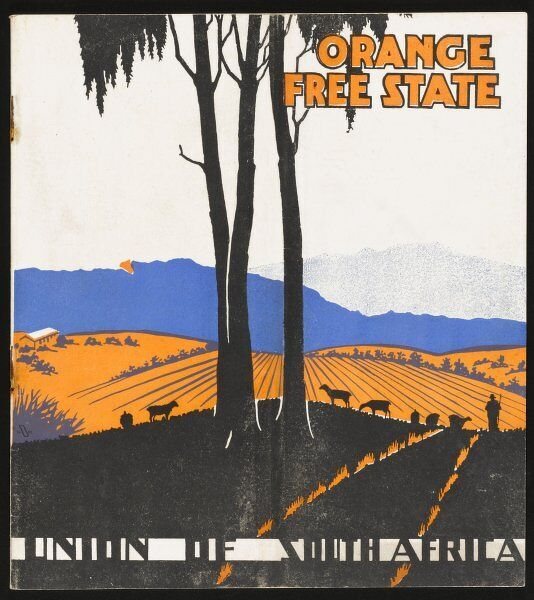 The front cover of a brochure inviting tourists and investors to admire the potential of the Orange Free State, part of the Union of South Africa