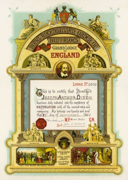 Certificate of an initiate into the Royal Antediluvian Order of Buffaloes