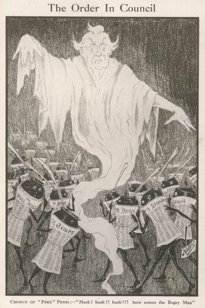 The daily newspapers scatter in fright as the spectral presence of Prime Minister Asquith, the censorious bogey man emerges above them. Censorship was a constant bugbear of the press during World War One