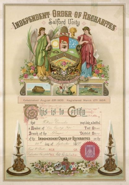 Membership certificate for the Independent Order of Rechabites, a society of abstainers from alcohol