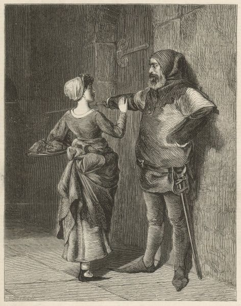 A woman carrying a platter of food is barred from entering the jail cell where, we presume, her partner is incarcerated. The gaoler however, decked out in a jester-style costume, does not look particularly intimidating