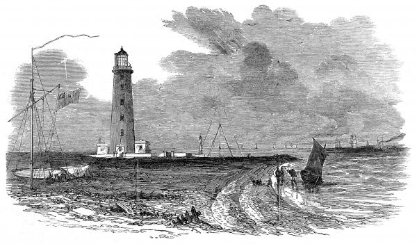 Engraving of Orfordness lighthouse and Submarine electric telegraph station, Suffolk, June 1853. At the end of May 1853 a telegraph cable 119 miles had been laid between Orfordness and Scheveningen, Holland, by the Electric Telegraph Company