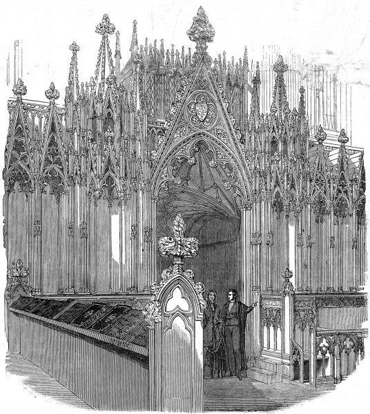 Engraving showing the Organ Screen of Westminster Abbey, with seats for the Dean and Sub-Dean and stalls, 1848