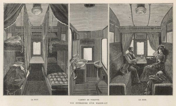 Interior views of compartments on the Orient Express showing them as sitting compartments, made up for the night and the washing facilities