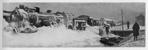 Attempts to dig out the Simplon Orient Express, snowbound 80 km from Constantinople (Istanbul)