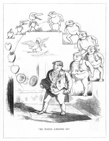 'He would a-wooing go'. Satire on Darwin's 'Origin of Species' showing the evolution of a rotund man, from a frog