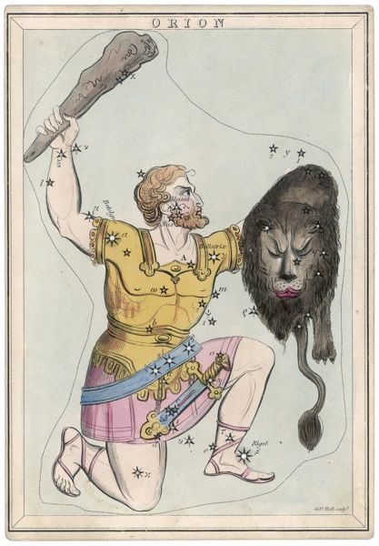 Orion, giant hunter, clubbing a lion. Being slain by Diana, he was made one of the constellations and is supposed to be attended with stormy weather