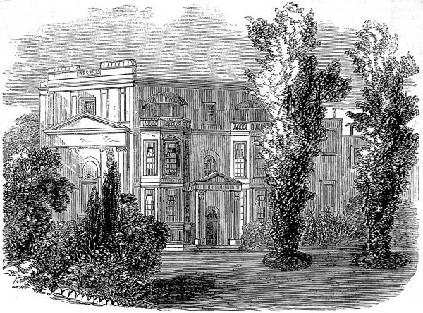 Engraving showing the exterior of the home of the Duchess of Orleans, Richmond, Surrey, 1858