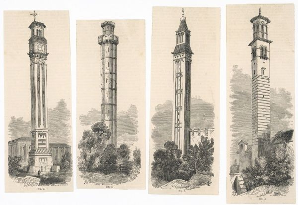 A selection of towers and chimneys with unusual architectural details