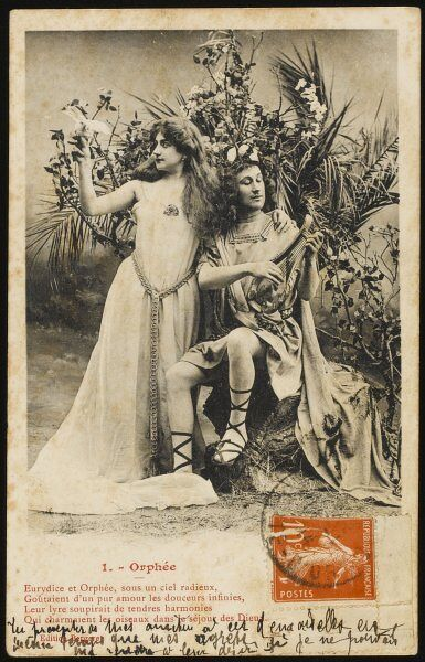 The story of Orpheus and Eurydice performed by actors for a set of postcards : 1 - he plays delightfully