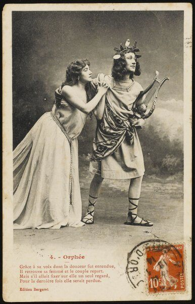 The story of Orpheus and Eurydice performed by actors for a set of postcards : 4 - he leads her out of the underworld