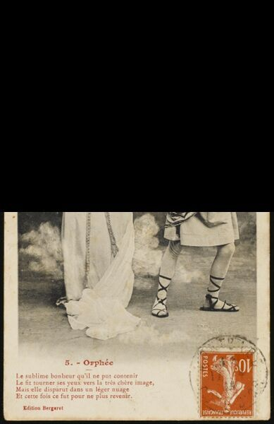 The story of Orpheus and Eurydice performed by actors for a set of postcards : 5 - he looks back - and all is lost !