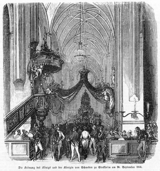Oscar I, son of Carl XIV Johan, is crowned at Stockholm