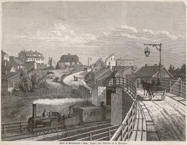 Oslo (formerly Christiania): railway bridge and train