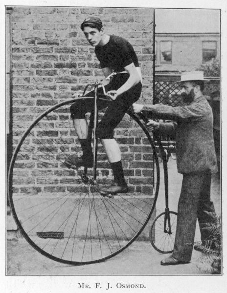 F J Osmond, noted racing cyclist, on his machine