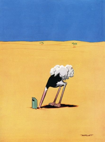 Humorous cartoon by Mallett showing an ostrich with its head typically in the sand, but who is cheating slightly with the use of a periscope. Date: 1951