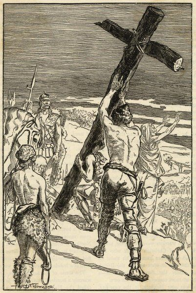 King Oswald of Northumbria sets up a cross at Hefenfelth (Heaven's Field) before a battle & is victorious. The cross becomes a site of miracles & healing