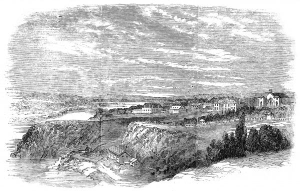 Landscape of Ottawa in its undeveloped state, showing a small number of houses and a mill at the edge of the river, c.1857. At this time it was proposed that Ottawa should be the new seat of the Canadian Government