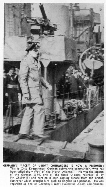 "Otto Kretschmer, German submarine commander and U-boat ""ace"" called ""The Wolf of the Atlantic"" coming ashore British destroyer following capture of U-99"