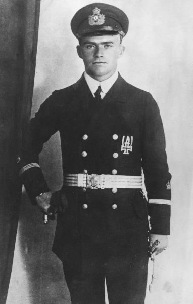 Otto Schenk (1891-1972), German naval officer under Admiral von Spee. Served in the First and Second World Wars. Seen here as a young man. Date: circa 1914-1918
