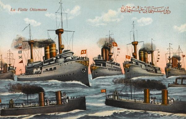 The Ottoman Fleet - a patriotic card from the time of WWI