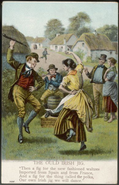 A couple dance an Irish jig on the village green, while a piper pipes and others watch approvingly, for the jig is far superior to your new- fangled waltzes and polkas