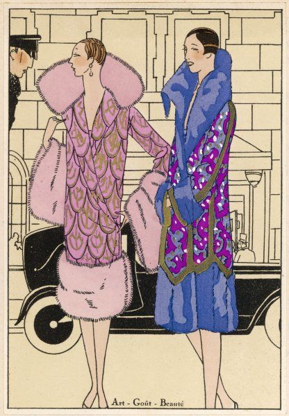 Two ladies wear manteaux to keep their shoulders warm - one by Worth, the other by Joseph Paquin