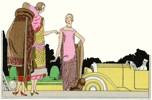 Three fashionable ladies in the latest outfits. On the left, a brown cape with pink border design, fur collar and leather details, by Lucien Lelong. In the middle, an evening dress in yellow with a criss-crossed gold design, by Lucien Lelong