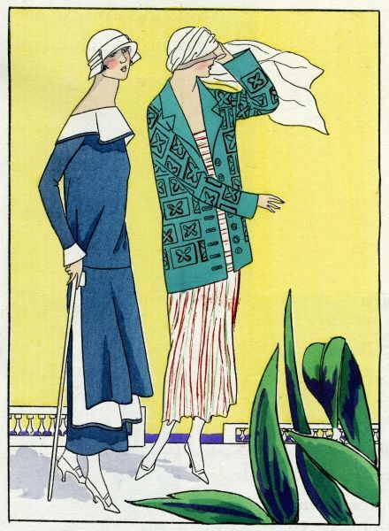 Two fashionable ladies wearing the latest outfits. On the left, a plain off the shoulder blue dress with white collar, by Philippe et Gaston. On the right, a single-breasted green patterned jacket, by Jean Patou