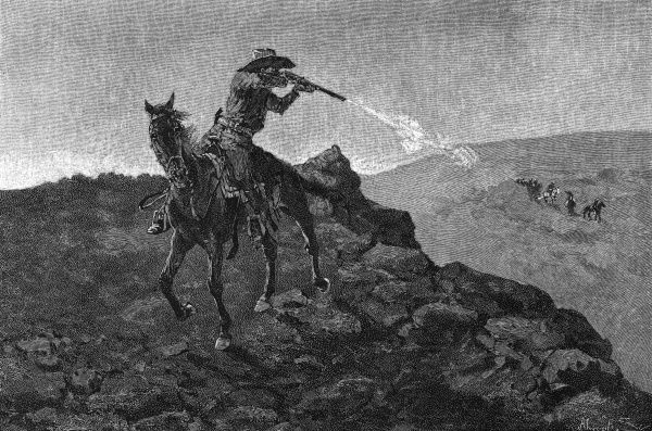 An outlaw in the American West shoots from up on a hill at travellers in the valley below. Date: 1888