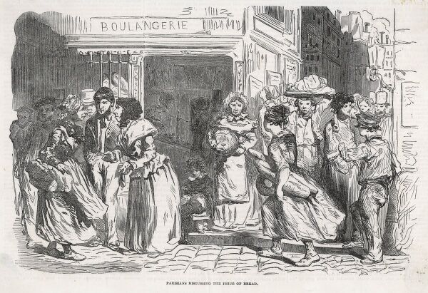 Housewives of Paris discuss the high cost of bread outside the boulangerie