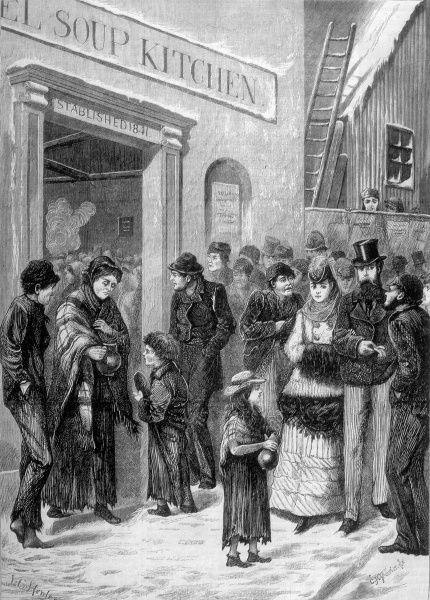 The poor and distressed throng the entrance to a soup kitchen : well-to-do passers- by look apprehensive as they are assailed by beggars Date: 1871