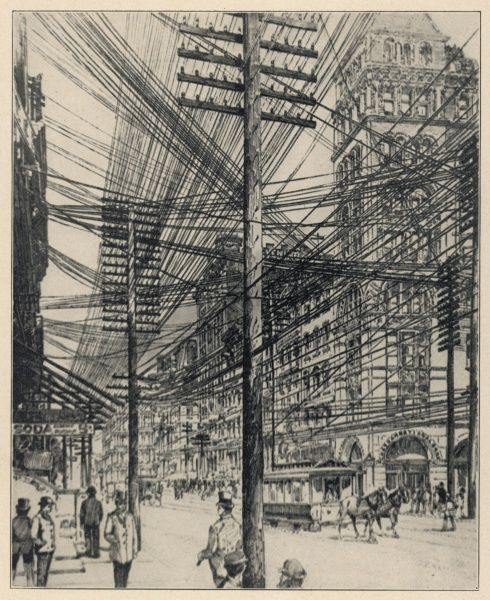 Overhead telephone wires at the junction of Broadway and John Street, New York