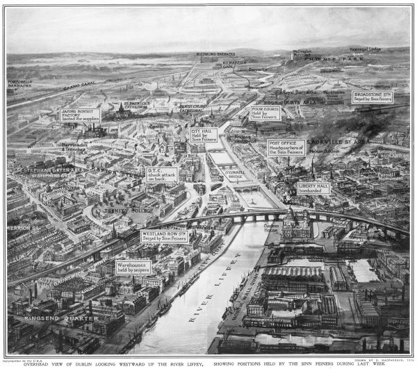 A bird's eye view of Dublin looking westward up the River Liffey, showing positions held by the Sinn Feiners during the Easter Rising in April 1916