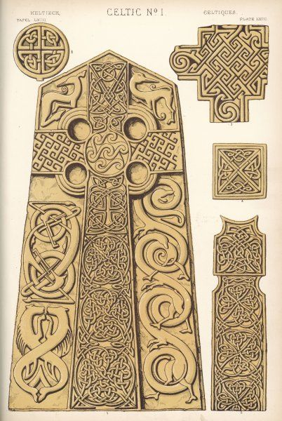 A stone cross, and ornaments from stone crosses, from various churchyards in Scotland
