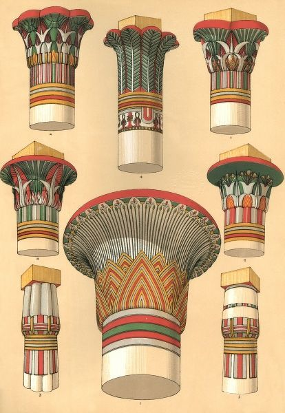 Egyptian designs for palm columns, usually found in temples. Date: BCE