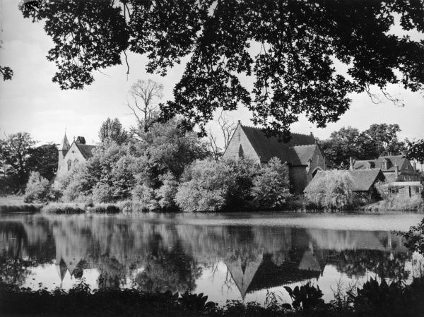 Oxenford Grange, Elstead, Surrey, England, a farm in a lovely setting, on the banks of the River Wey. Date: 1950s