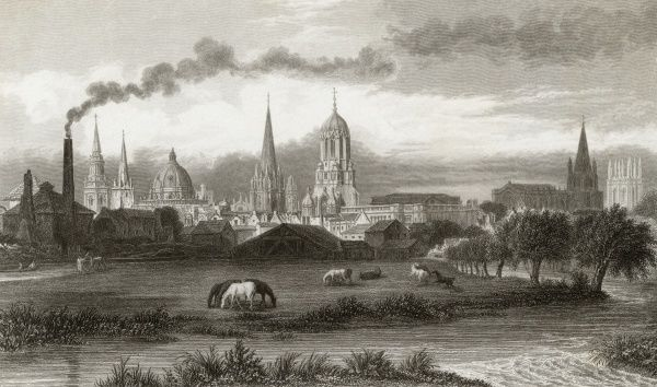 Oxford: general view, from the meadows near the railway station Date: circa 1840