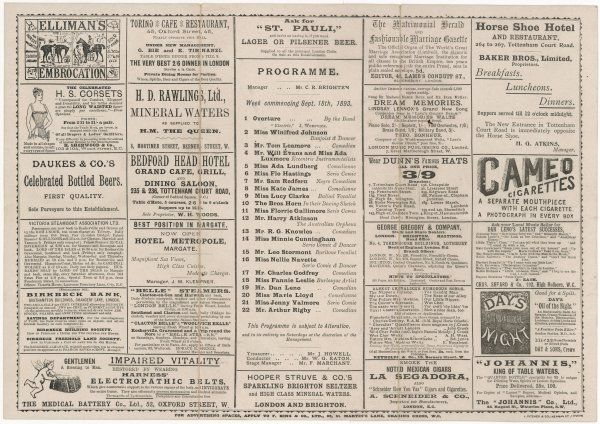 The inside pages of a programme for the Oxford Music Hall, London, for the week commencing 18 September 1893. The bill included Mr Dan Leno and Miss Marie Lloyd