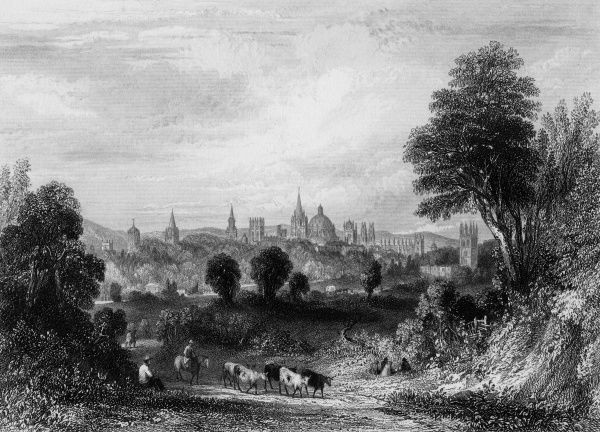 A distant view of Oxford from the road to Henley. Date: circa 1840