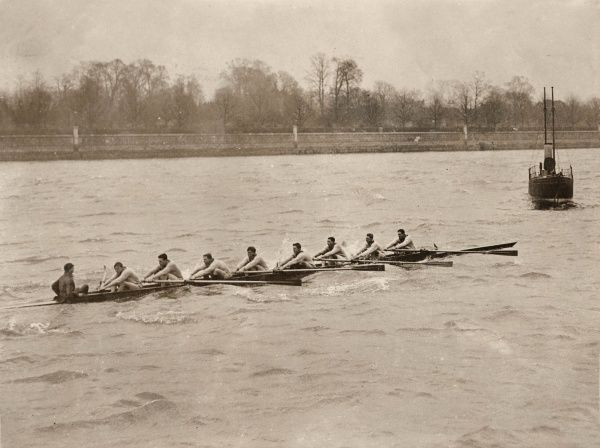 The Oxford team practising for the annual Boat Race