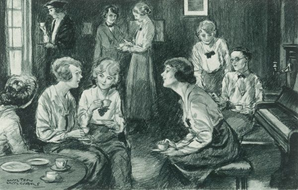 Women undergraduates taking tea in a student's rooms at Somerville College