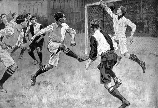 Illustration of Cambridge University scoring a goal in their 1910 match against Oxford University. The game was played at the Queen's Club, London, and Cambridge won 2-1