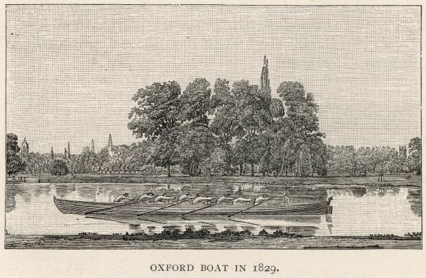 The Oxford boat in the first year of the race