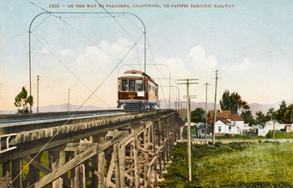 Pacific Electric Railway, on the way to Pasadena, California, America