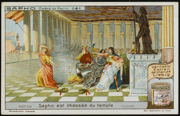 Saffo, after the sacrilege of destroying Apollo's altar, is expelled from the temple