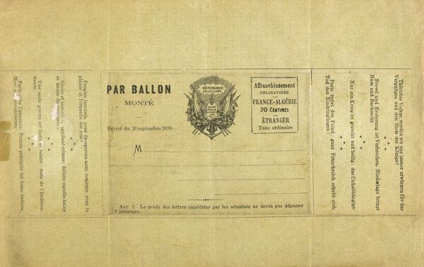 An actual envelope for a letter sent by balloon post out of Paris during the Siege. The letters were limited to a weight of 4 grams ! Date: 1870