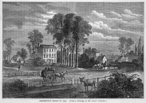 A pond, a farm cart, a donkey - this is Paddington Green in the mid-18th century