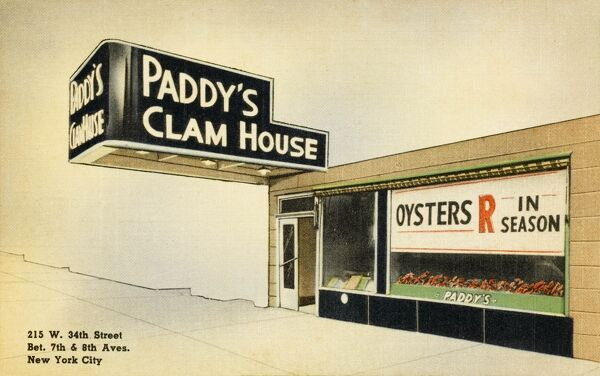 "Paddy's Clam House, New York City, 215 West 34th Street, between 7th and 8th Avenue. The window display boasts ""Clans R in Season!&quot"