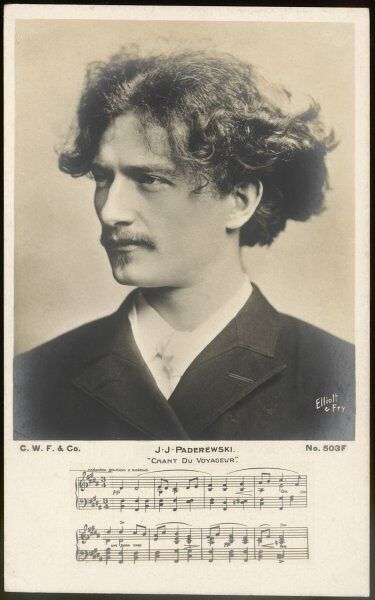 IGNACY JAN PADEREWSKI Polish pianist, composer and statesman, with part of his 'Chant du Voyageur' below